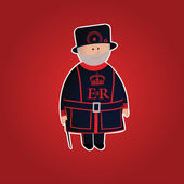 Cute Tower of London beefeater character — Stock Vector