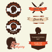 Set of vintage thanksgiving day labels and badges — Stock Vector