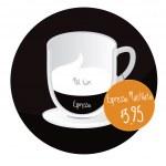 Espresso Macchiato coffe cup with price tag — Stock Vector