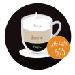 Caffe latte coffee cup with price tag — Imagen vectorial