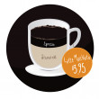 Latte macchiato coffee cup with price tag — Vettoriali Stock