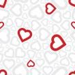 Bright red heart seamless background pattern — Stockvectorbeeld