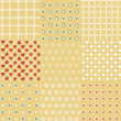 Set of 9 retro seamless background patterns - Vettoriali Stock