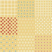 Set of 9 retro seamless background patterns — Stock Vector