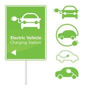 электрический автомобиль зарядная станция дороги знак шаблон — Cтоковый вектор