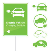 Electric Vehicle Charging Station road sign template — 图库矢量图片
