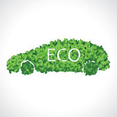 Eco car made of leaves — Stock Vector