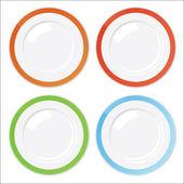 Conjunto de cuatro platos limpios con bordes colores — Vector de stock