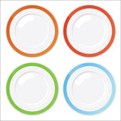 Set of four clean plates with colored borders — Stok Vektör