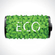 Eco battery made of green leaves — Stockvectorbeeld