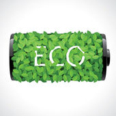 Eco battery made of green leaves — Stock Vector