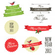 Stock Vector: Set of vintage christmas labels and badges