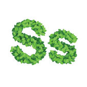 Vector eco alphabet letter S made from green leaves — Stock Vector