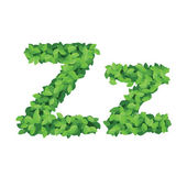 Vector eco alphabet letter Z made from green leaves — Cтоковый вектор