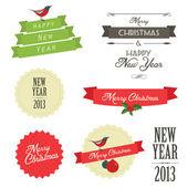 Satz von vintage weihnachten etiketten und abzeichen — Stockvektor