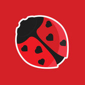 Ladybird with hearts on wings — Vecteur