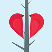 2 love birds on a tree — Stock Vector