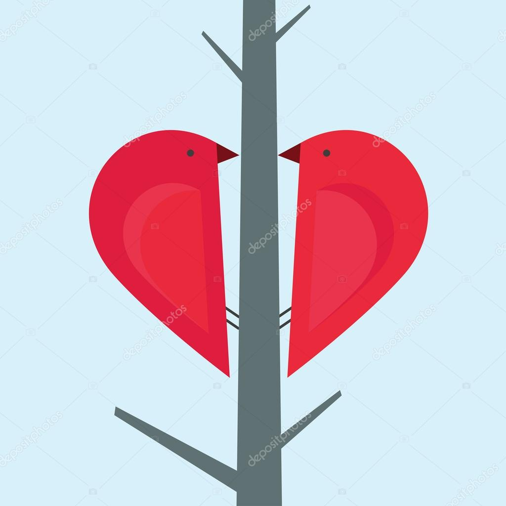 2 birds on a tree sitting in a shape of a red heart — Stock Vector #16942821