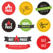 Set of sale stickers, elements and badges — Stock Vector