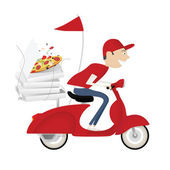 Funny pizza delivery boy riding motor bike — Stockvector