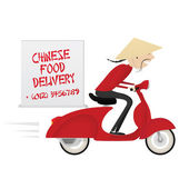Chinese food delivery boy riding red motor bike — Stock Vector