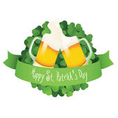 Saint Patrick's Day label with beer and ribbon — Vecteur