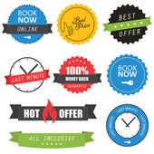 Sada štítků a odznaky pro hotely — Stock vektor