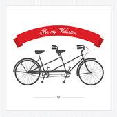 день святого валентина открытка с тандем велосипед — Cтоковый вектор