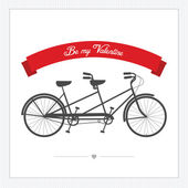 Valentine's Day postcard with tandem bicycle — Stok Vektör