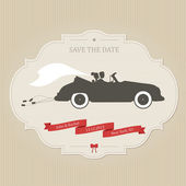 Funny wedding invitation with vintage car dragging cans — 图库矢量图片