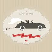 Gracioso boda invitación con coches de época arrastrando latas — Vector de stock