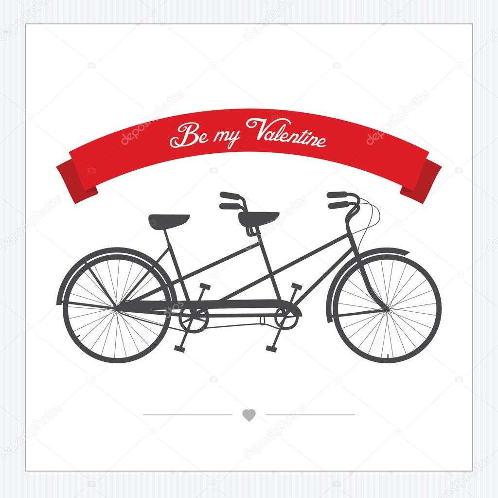 Valentine's Day postcard with vintage tandem bicycle  Stock Vector #18250321