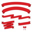 Set of red vintage ribbons — Imagen vectorial