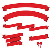 Set of red vintage ribbons — Stock Vector