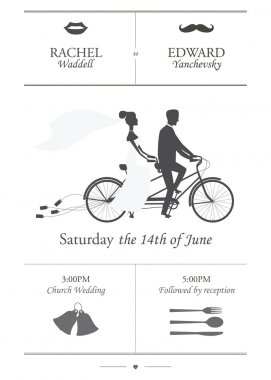 Vintage minimalistic wedding invitation with tandem bicycle