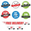 Set of delivery labels and badges — Stock Vector