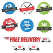Set of delivery labels and badges — Stockvector