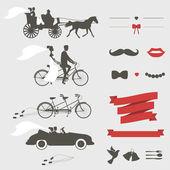 Conjunto de elementos de diseño vintage de invitación de boda — Vector de stock