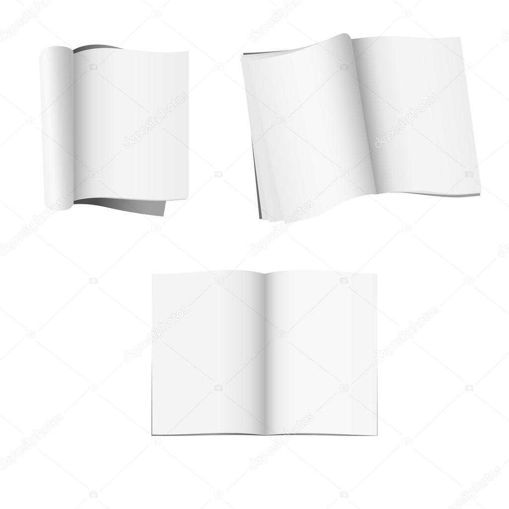 Set of 3 opened magazines with blank pages isolated on white background — Stock Vector #18433297