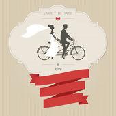 タンデム自転車でビンテージ結婚式の招待状 — ストックベクタ
