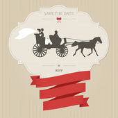 Vintage wedding invitation with retro carriage — Stock Vector