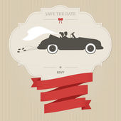 Vintage wedding invitation with retro car — Stock Vector