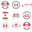 Vector de stock : Made in Canadlabels, badges and stickers