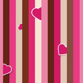 Striped pink seamless background with hearts — Stock Vector