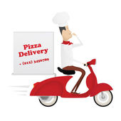 Funny italian chef delivering pizza on red moped — Stock Vector
