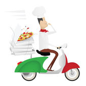 Funny italian chef delivering pizza on moped — Stockvector
