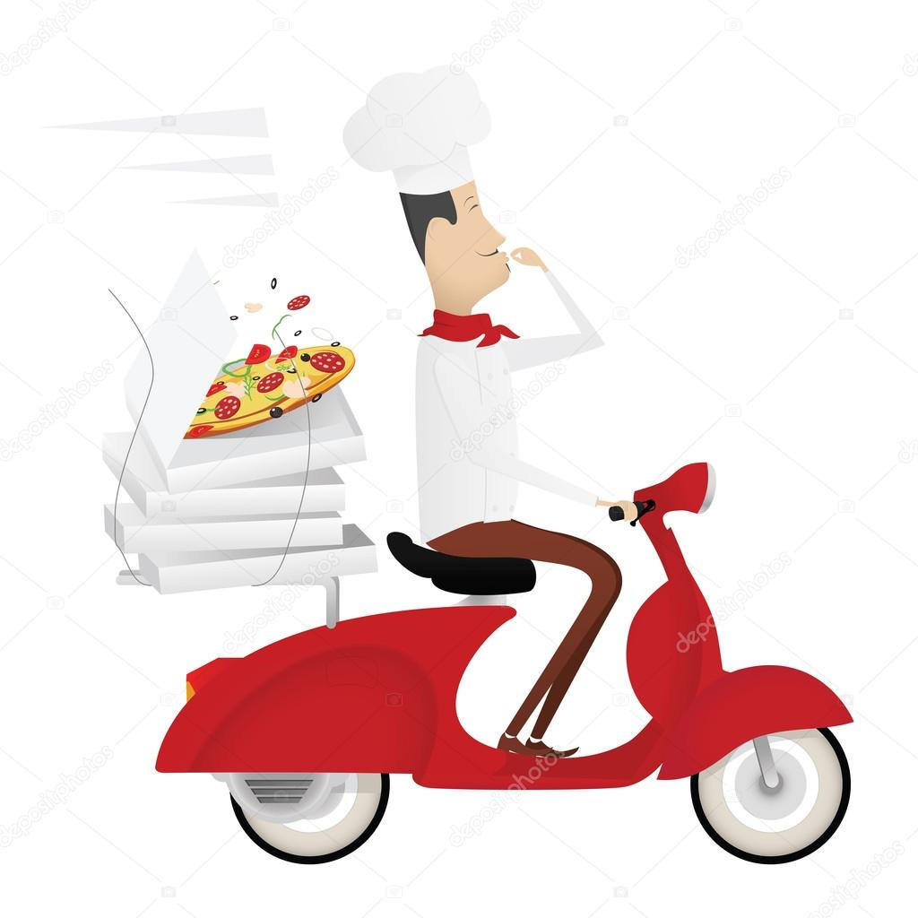 Lustige italienischer koch liefert pizza auf rote moped for Koch italienisch