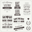 Set of wedding invitation vintage design elements — Векторная иллюстрация