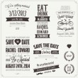 Set of wedding invitation vintage design elements - Stock Vector