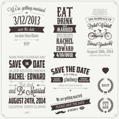 Set of wedding invitation vintage design elements — Stockvector